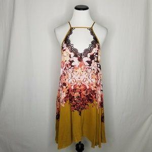 Free People Floral Haze Mini Trapeze Dress